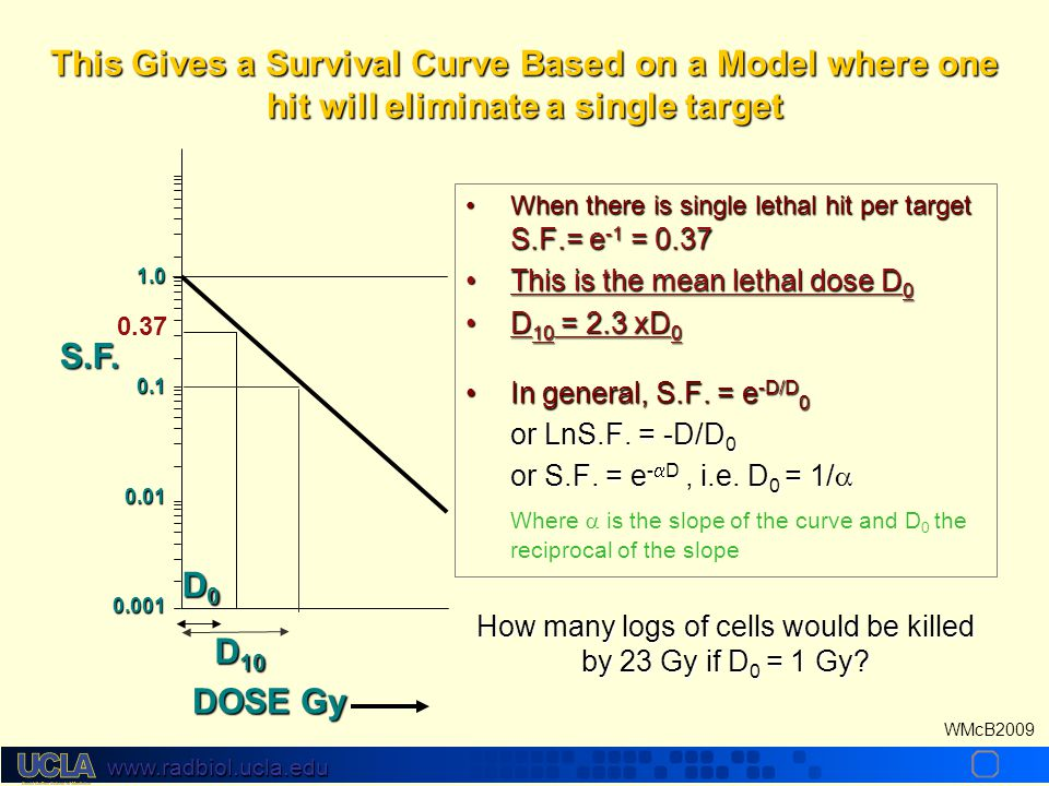 www.radbiol.ucla.edu WMcB2009 What total dose (D) to give if the dose/fx (d) is changed New Old New Old D new (d new +  ) = D old (d old +  ) So, for late responding tissue, what total dose in 1.5Gy fractions is equivalent to 66Gy in 2Gy fractions.