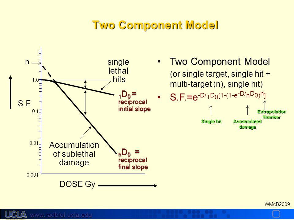www.radbiol.ucla.edu WMcB2009 DOSE Gy 1 D 0 = reciprocal initial slope n D 0 = reciprocal final slope S.F.