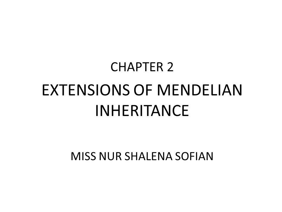 CHAPTER 2 EXTENSIONS OF MENDELIAN INHERITANCE MISS NUR SHALENA SOFIAN