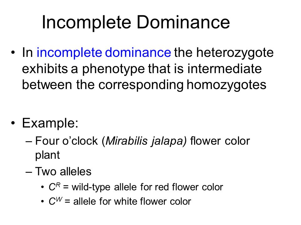 Incomplete Dominance In incomplete dominance the heterozygote exhibits a phenotype that is intermediate between the corresponding homozygotes Example:
