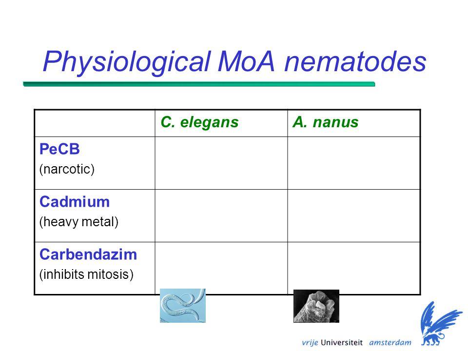 Physiological MoA nematodes C. elegansA.