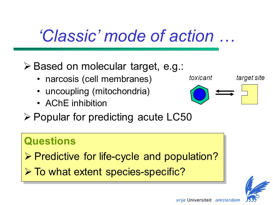 'Classic' mode of action …  Based on molecular target, e.g.: narcosis (cell membranes) uncoupling (mitochondria) AChE inhibition target sitetoxicant