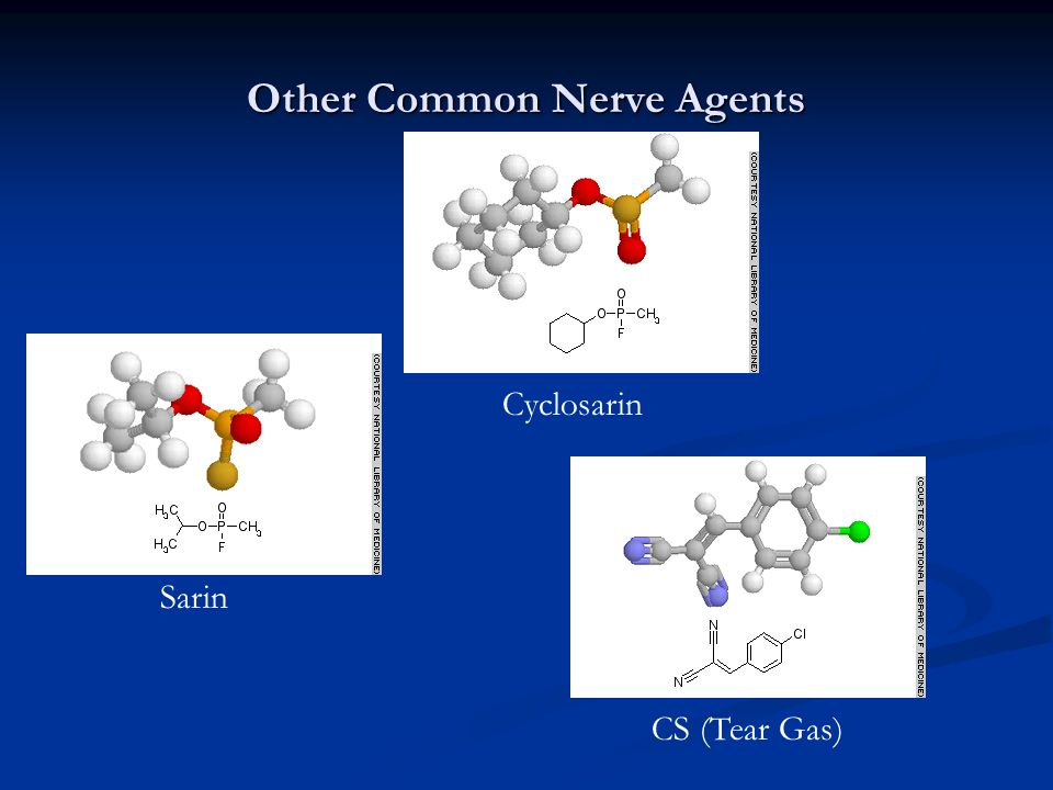 Other Common Nerve Agents Sarin Cyclosarin CS (Tear Gas)