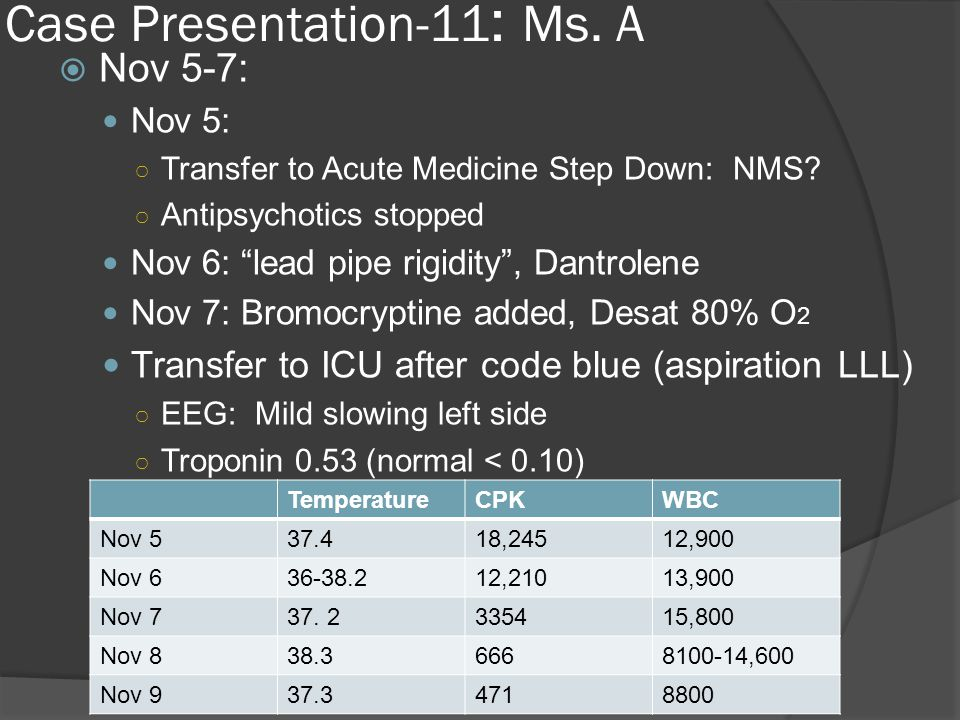 Case Presentation-11 : Ms. A  Nov 5-7: Nov 5: ○ Transfer to Acute Medicine Step Down: NMS.