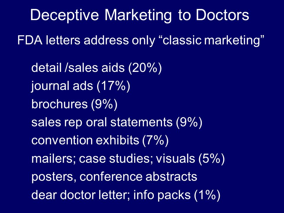 Deceptive Marketing to Doctors FDA letters address only classic marketing detail /sales aids (20%) journal ads (17%) brochures (9%) sales rep oral statements (9%) convention exhibits (7%) mailers; case studies; visuals (5%) posters, conference abstracts dear doctor letter; info packs (1%)