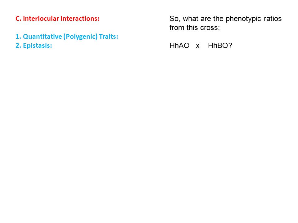 C. Interlocular Interactions: 1. Quantitative (Polygenic) Traits: 2.