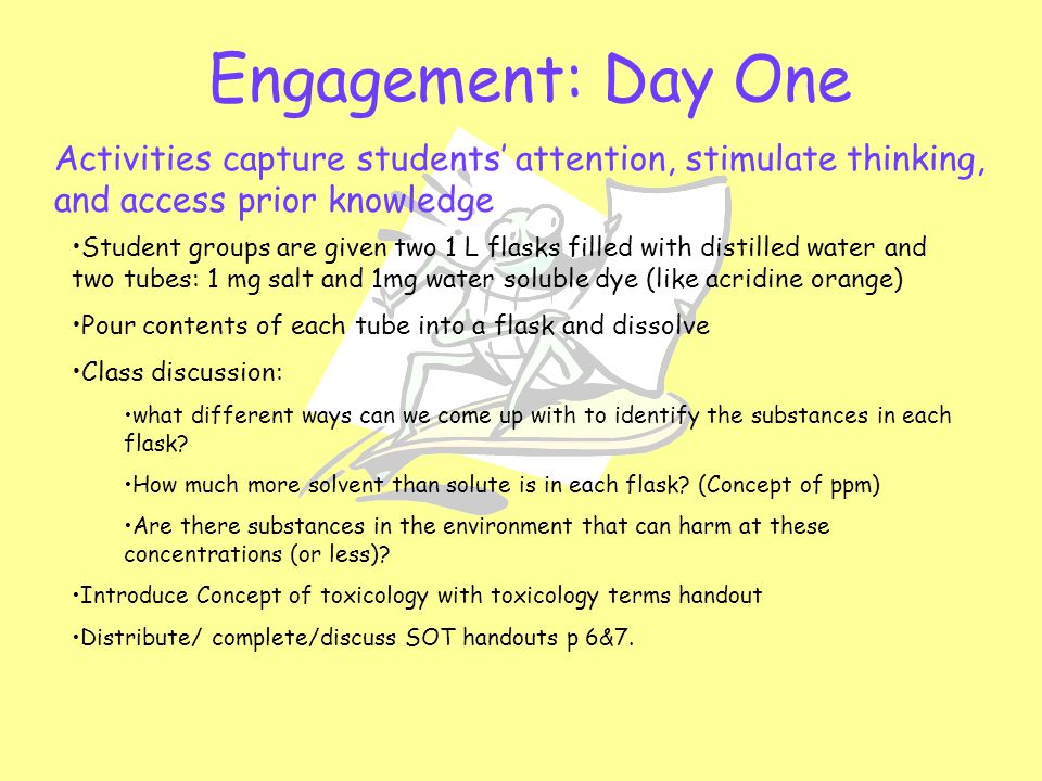 Engagement: Day One Activities capture students' attention, stimulate thinking, and access prior knowledge Student groups are given two 1 L flasks fil
