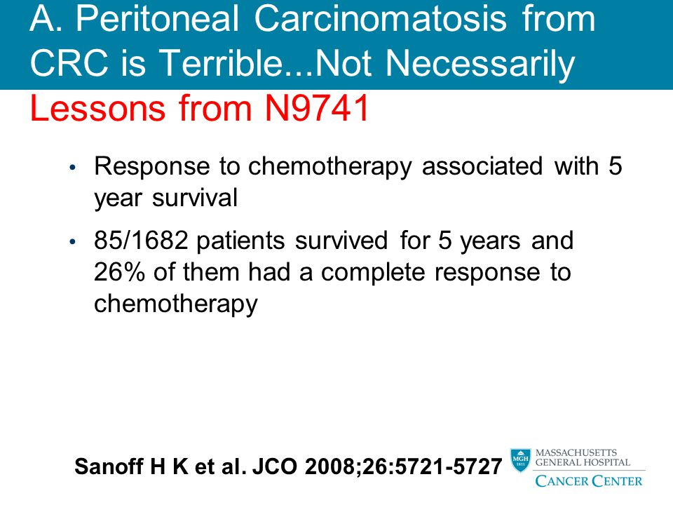 A. Peritoneal Carcinomatosis from CRC is Terrible...Not Necessarily Lessons from N9741 Response to chemotherapy associated with 5 year survival 85/168