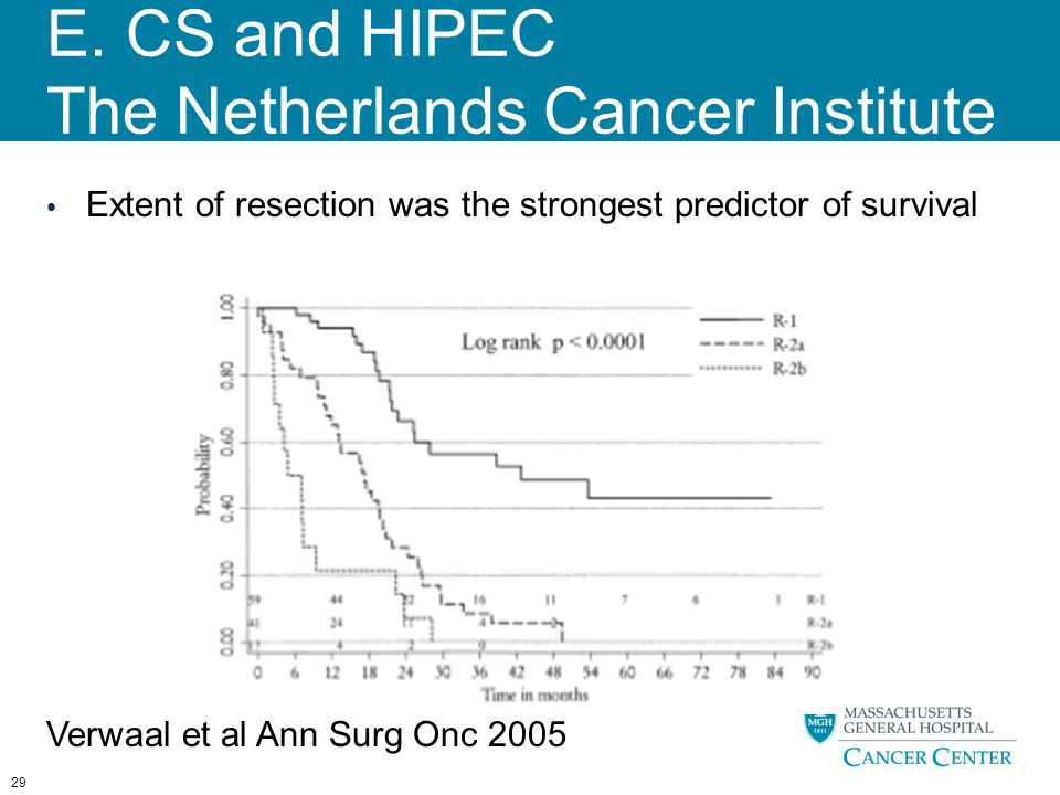 E. CS and HIPEC The Netherlands Cancer Institute 29 Extent of resection was the strongest predictor of survival Verwaal et al Ann Surg Onc 2005
