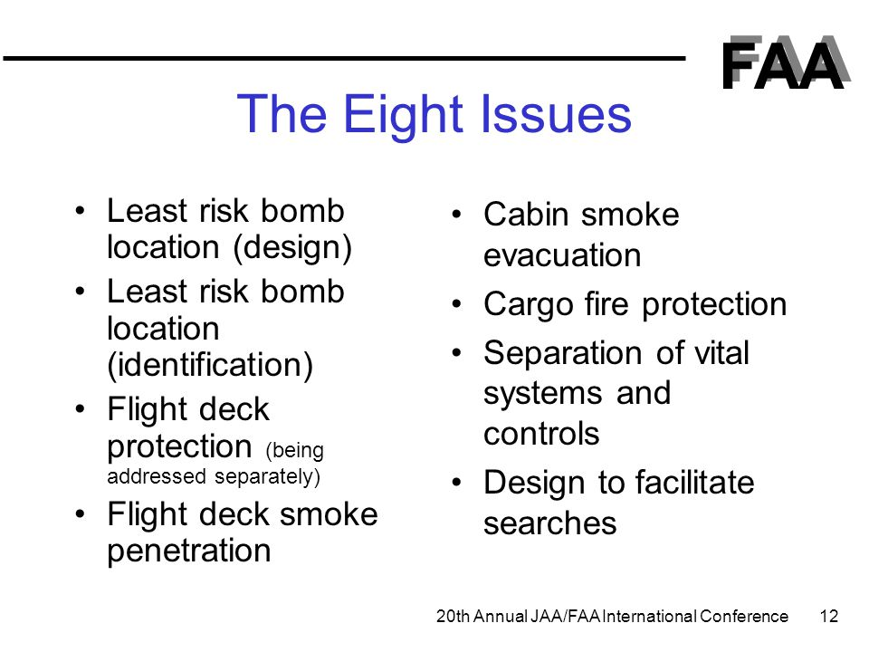 FAA 20th Annual JAA/FAA International Conference 12 The Eight Issues Least risk bomb location (design) Least risk bomb location (identification) Fligh