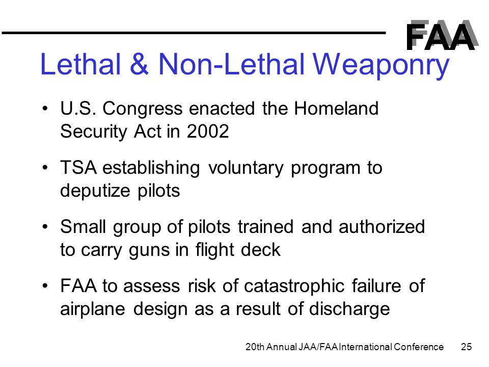 FAA 20th Annual JAA/FAA International Conference 25 Lethal & Non-Lethal Weaponry U.S. Congress enacted the Homeland Security Act in 2002 TSA establish