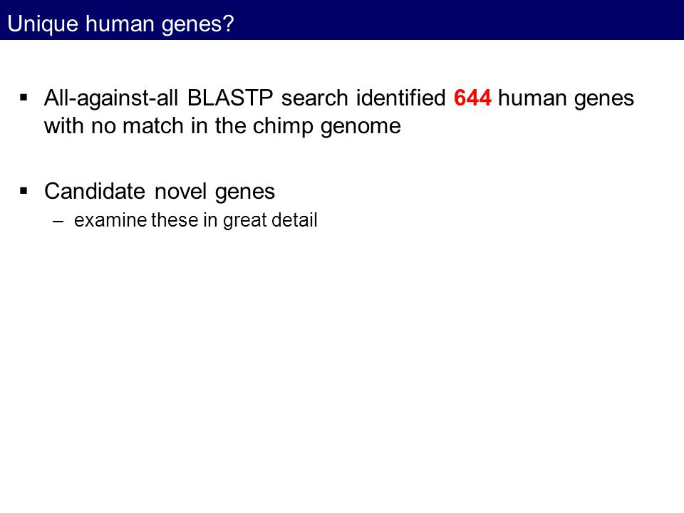 Unique human genes?  All-against-all BLASTP search identified 644 human genes with no match in the chimp genome  Candidate novel genes –examine thes