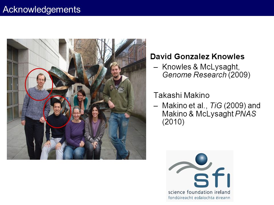 Acknowledgements David Gonzalez Knowles –Knowles & McLysaght, Genome Research (2009) Takashi Makino –Makino et al., TiG (2009) and Makino & McLysaght