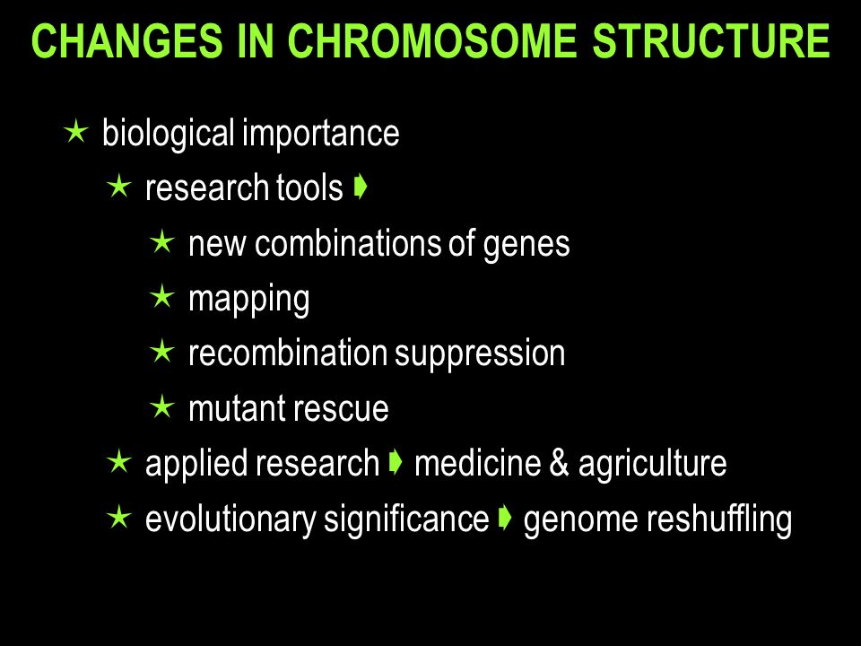 CHANGES IN CHROMOSOME STRUCTURE  biological importance  research tools   new combinations of genes  mapping  recombination suppression  mutant rescue  applied research  medicine & agriculture  evolutionary significance  genome reshuffling