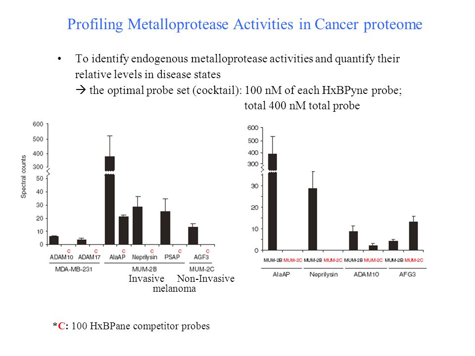 Profiling Metalloprotease Activities in Cancer proteome To identify endogenous metalloprotease activities and quantify their relative levels in disease states  the optimal probe set (cocktail): 100 nM of each HxBPyne probe; total 400 nM total probe *C: 100 HxBPane competitor probes InvasiveNon-Invasive melanoma