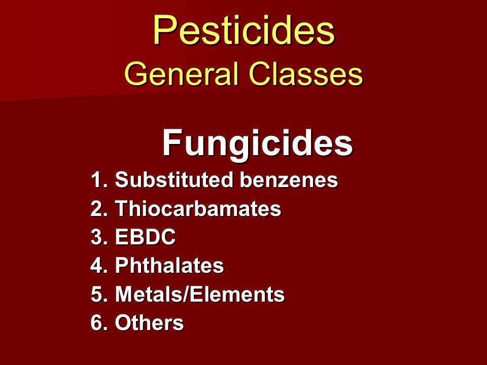 Pesticides General Classes Rodenticides 1.Coumarins 2.Indandiones 3.Metals/Inorganic s 4.Convulsants