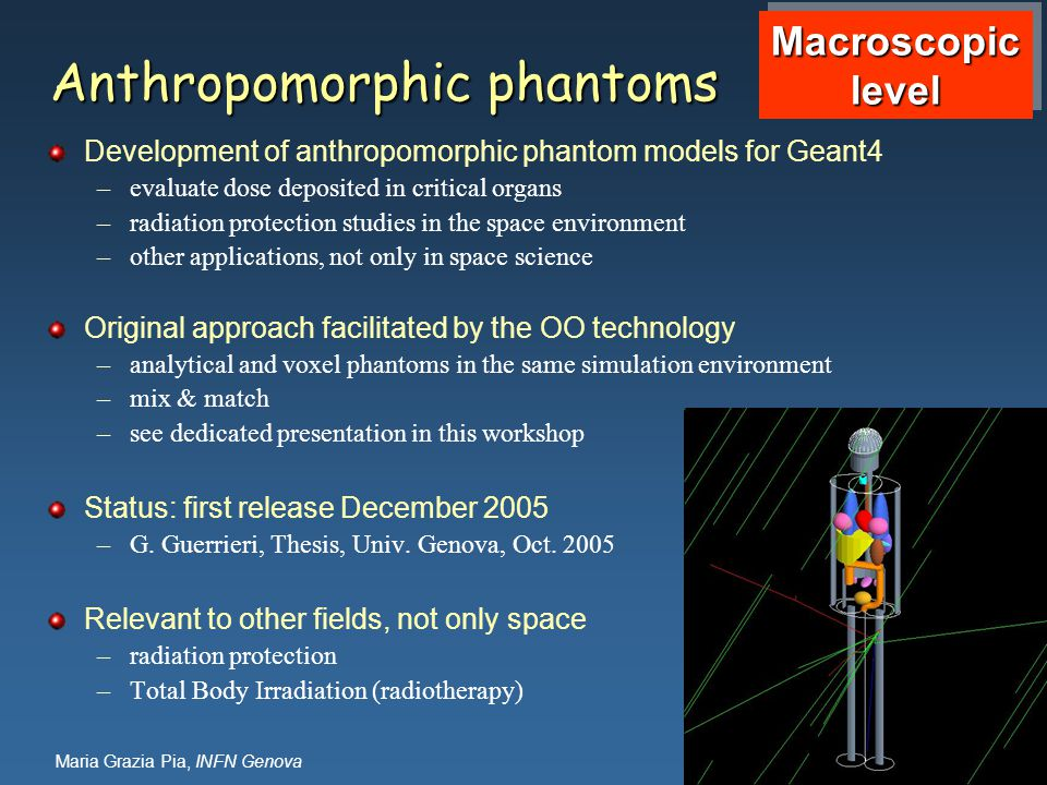 Maria Grazia Pia, INFN Genova Anthropomorphic phantoms Development of anthropomorphic phantom models for Geant4 –evaluate dose deposited in critical organs –radiation protection studies in the space environment –other applications, not only in space science Original approach facilitated by the OO technology –analytical and voxel phantoms in the same simulation environment –mix & match –see dedicated presentation in this workshop Status: first release December 2005 –G.
