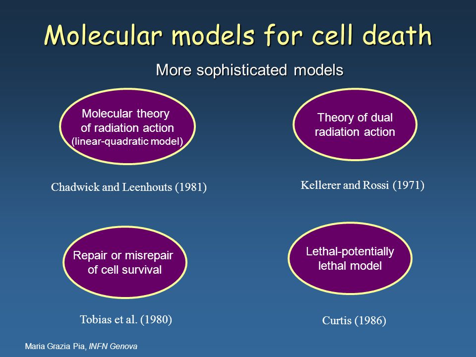 Maria Grazia Pia, INFN Genova Molecular theory of radiation action (linear-quadratic model) Theory of dual radiation action Repair or misrepair of cell survival Lethal-potentially lethal model Chadwick and Leenhouts (1981) Tobias et al.