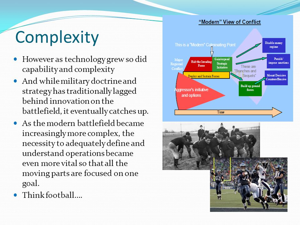 Complexity However as technology grew so did capability and complexity And while military doctrine and strategy has traditionally lagged behind innovation on the battlefield, it eventually catches up.