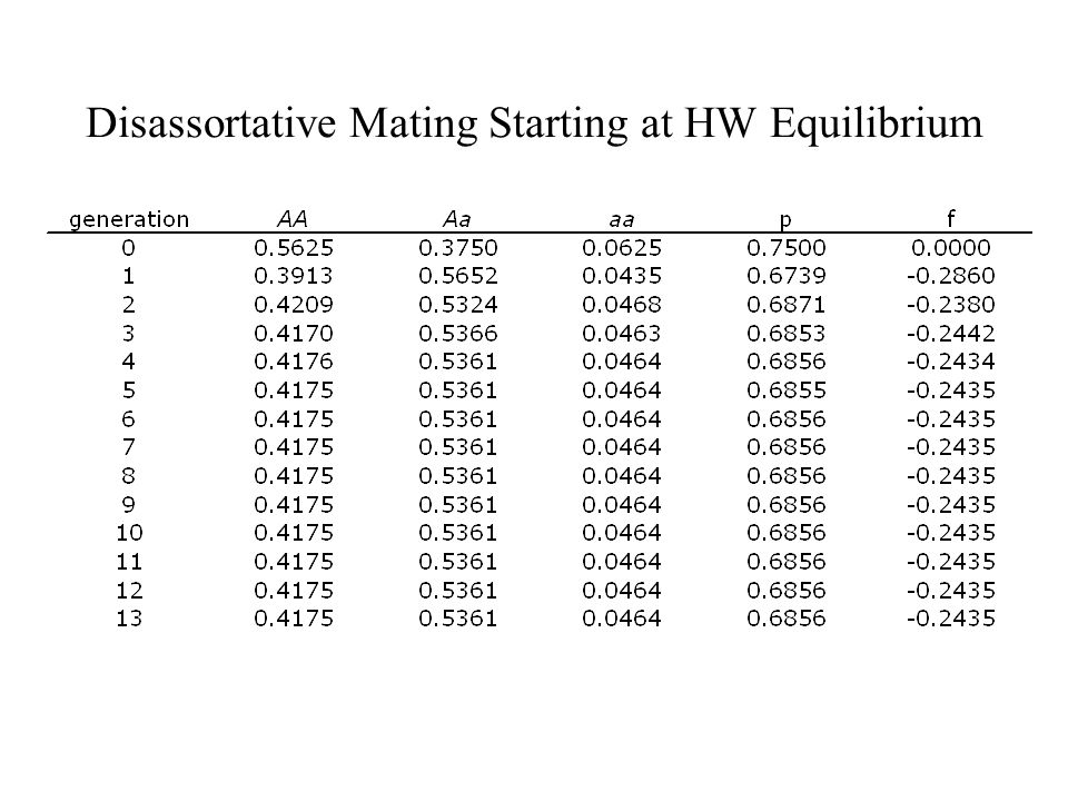 Disassortative Mating Starting at HW Equilibrium
