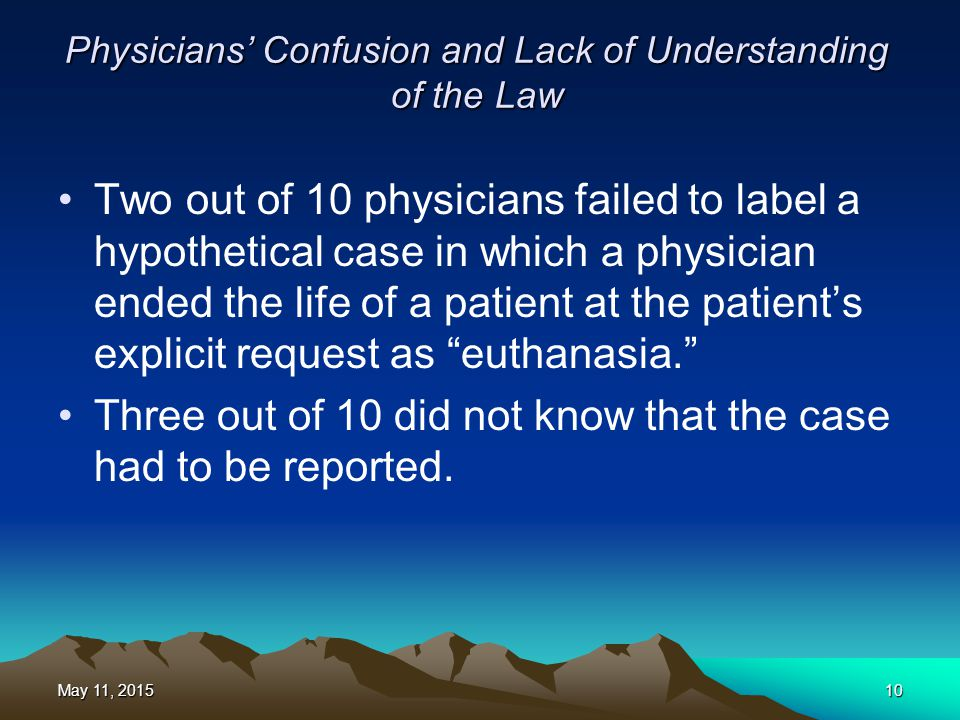 Physicians' Confusion and Lack of Understanding of the Law Two out of 10 physicians failed to label a hypothetical case in which a physician ended the