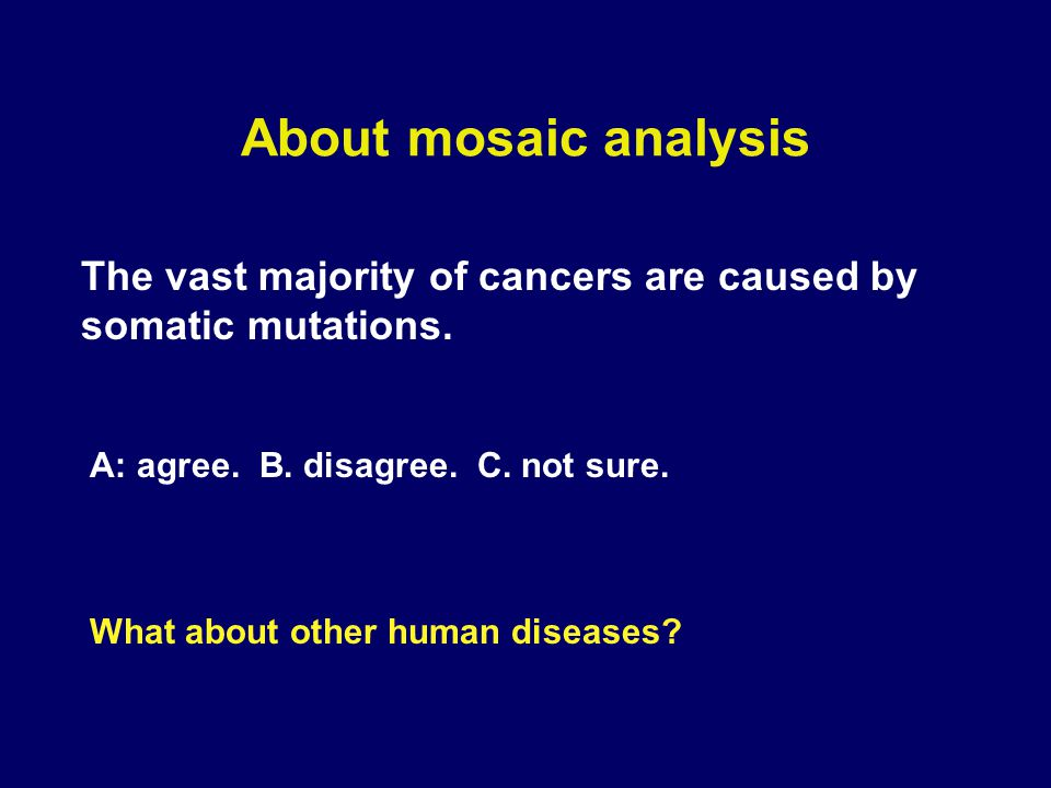 About mosaic analysis Most of the classical geneticists have been doing germ-line mutagenesis.