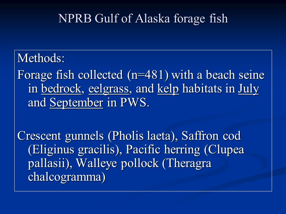 NPRB Gulf of Alaska forage fish Methods: Forage fish collected (n=481) with a beach seine in bedrock, eelgrass, and kelp habitats in July and September in PWS.