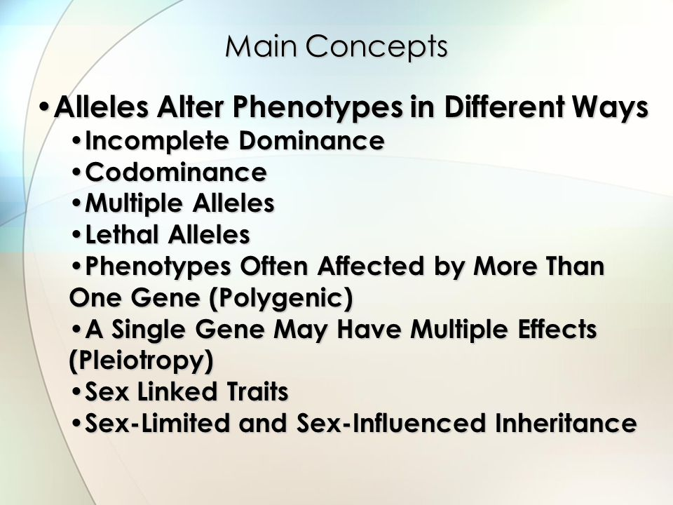 Main Concepts Alleles Alter Phenotypes in Different Ways Alleles Alter Phenotypes in Different Ways Incomplete Dominance Incomplete Dominance Codomina