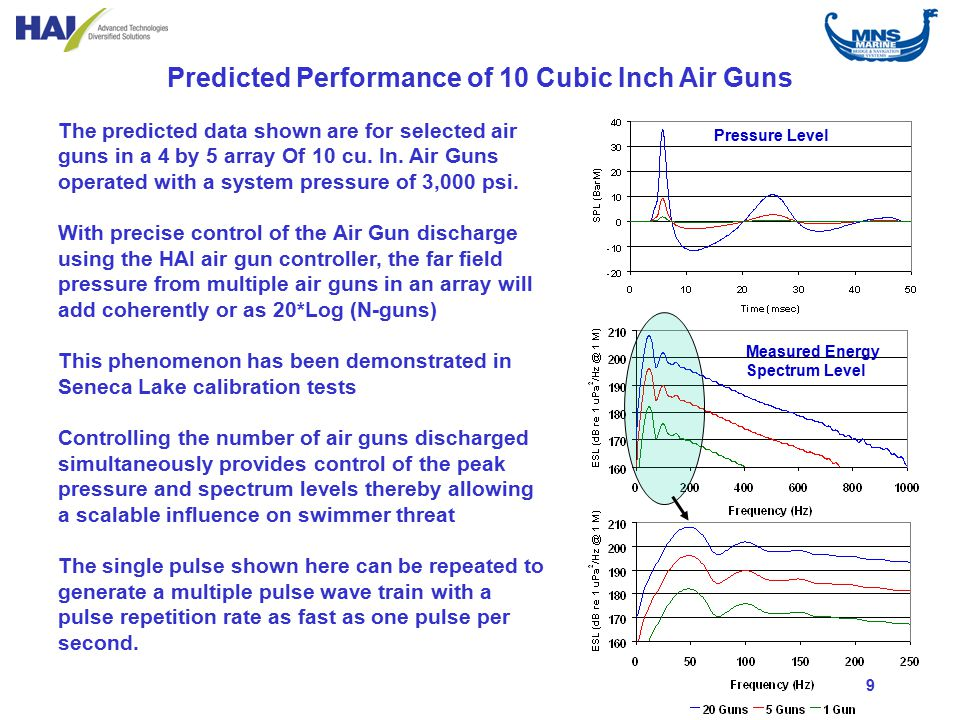 9 Predicted Performance of 10 Cubic Inch Air Guns The predicted data shown are for selected air guns in a 4 by 5 array Of 10 cu.