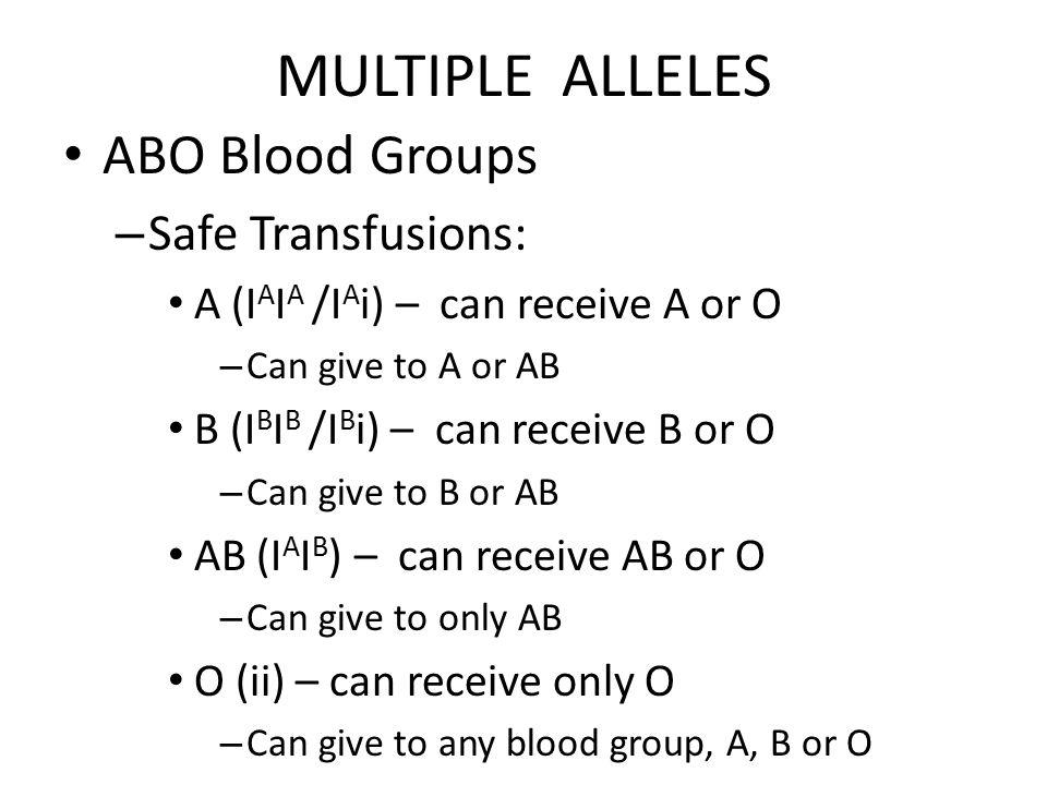 MULTIPLE ALLELES ABO Blood Groups – Safe Transfusions: A (I A I A /I A i) – can receive A or O – Can give to A or AB B (I B I B /I B i) – can receive