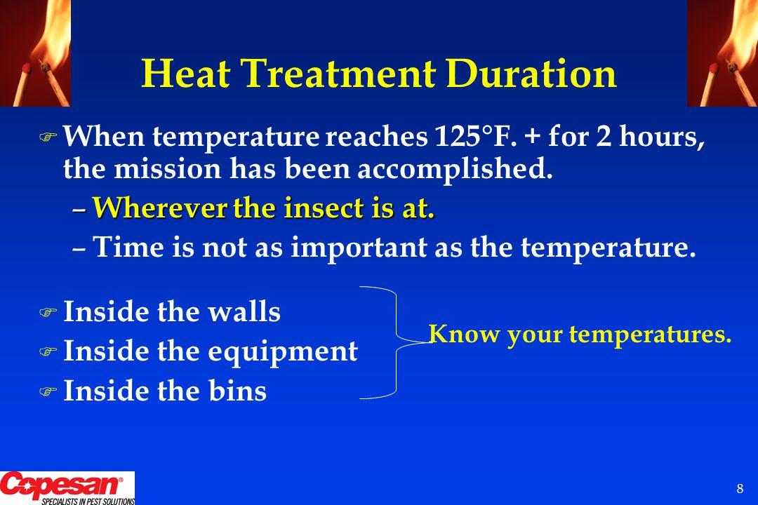 8 Heat Treatment Duration F When temperature reaches 125°F.