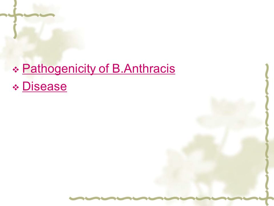  Pathogenicity of B.Anthracis Pathogenicity of B.Anthracis  Disease Disease