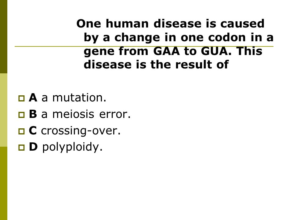 One human disease is caused by a change in one codon in a gene from GAA to GUA.