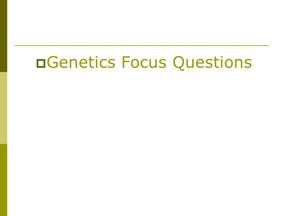  Genetics Focus Questions