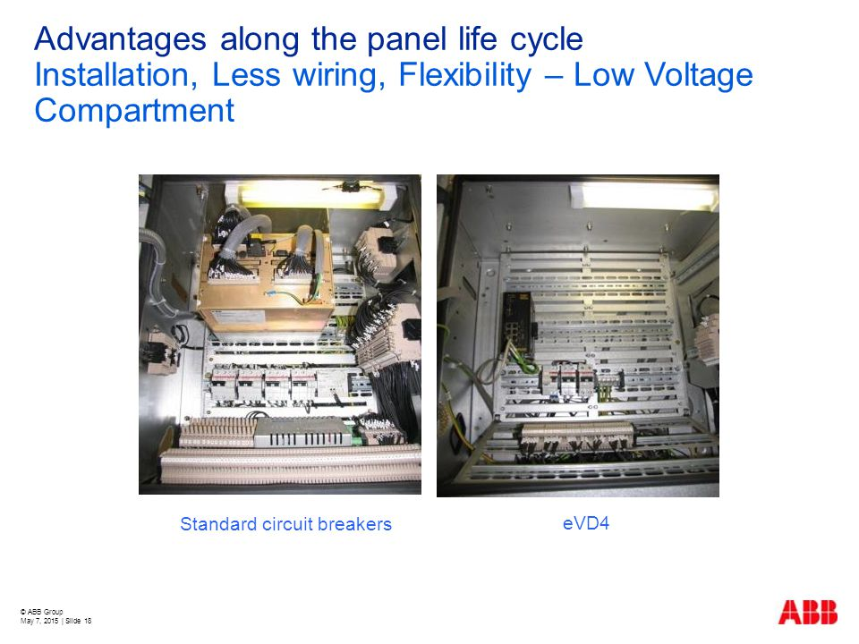 © ABB Group May 7, 2015 | Slide 18 Advantages along the panel life cycle Installation, Less wiring, Flexibility – Low Voltage Compartment Standard cir