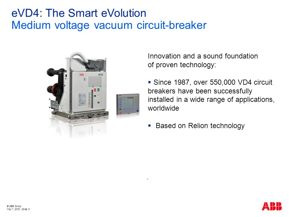 © ABB Group May 7, 2015 | Slide 3 eVD4: The Smart eVolution Medium voltage vacuum circuit-breaker Innovation and a sound foundation of proven technolo