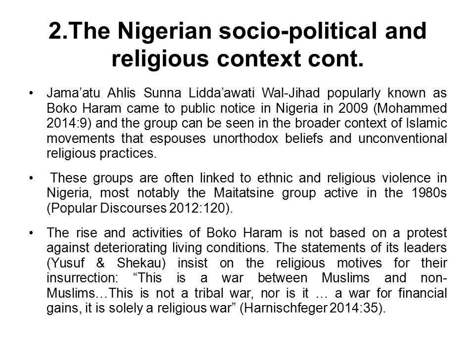 2.The Nigerian socio-political and religious context cont.