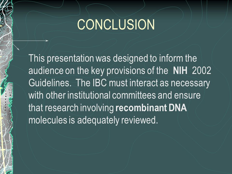 CONCLUSION This presentation was designed to inform the audience on the key provisions of the NIH 2002 Guidelines. The IBC must interact as necessary