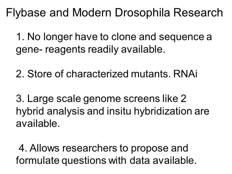 Flybase and Modern Drosophila Research 1.