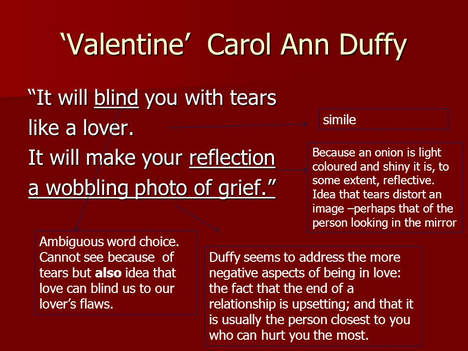 """'Valentine' Carol Ann Duffy """"It will blind you with tears like a lover. It will make your reflection a wobbling photo of grief."""" simile Duffy seems to"""
