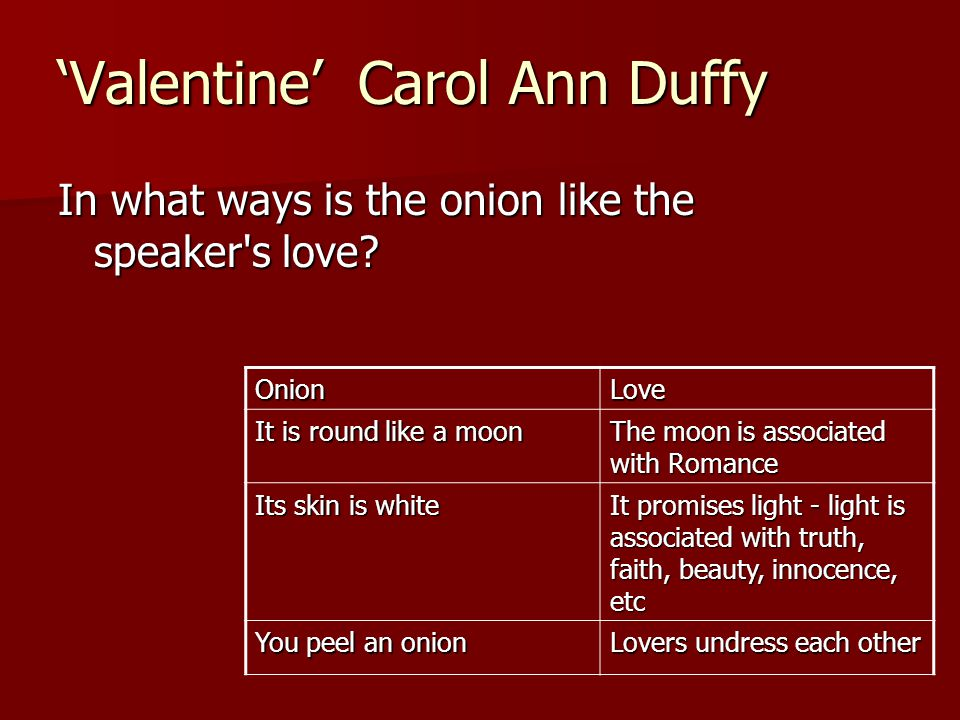 Valentine Quotes Carol Ann Duffy 'valentine' Carol Ann Duffy in