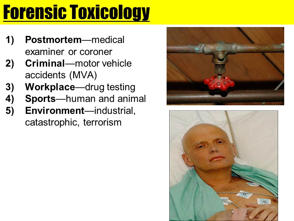Forensic Toxicology 1)Postmortem—medical examiner or coroner 2)Criminal—motor vehicle accidents (MVA) 3)Workplace—drug testing 4)Sports—human and anim