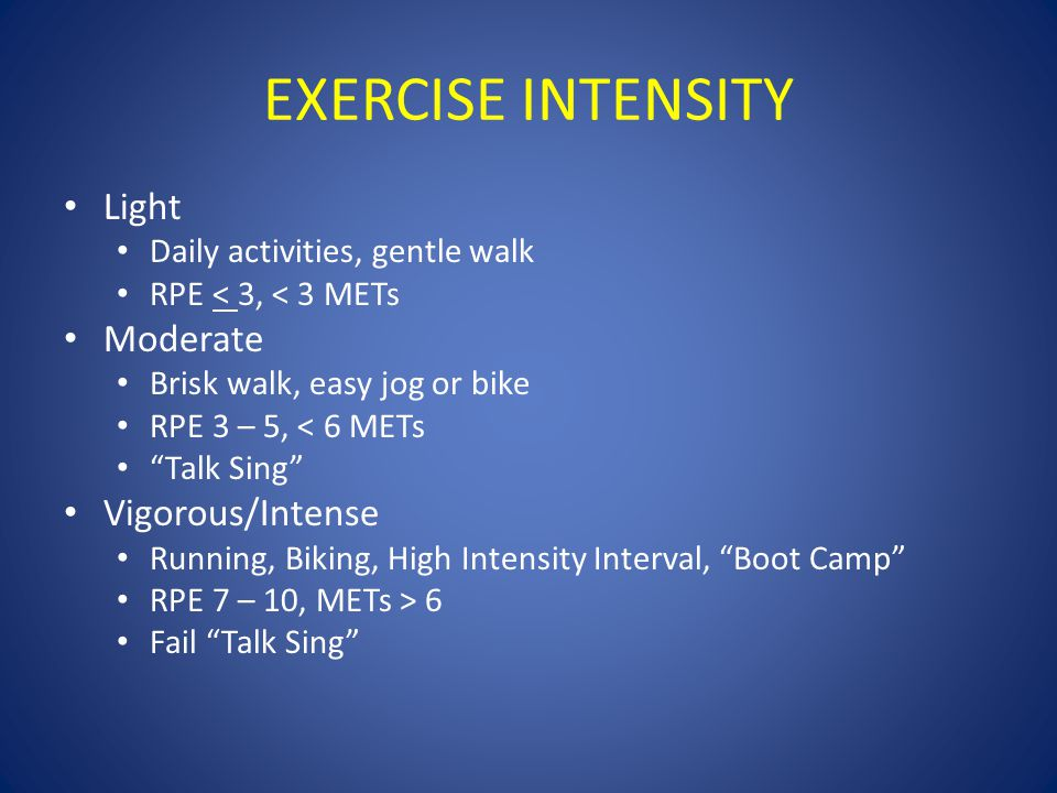 "EXERCISE INTENSITY Light Daily activities, gentle walk RPE < 3, < 3 METs Moderate Brisk walk, easy jog or bike RPE 3 – 5, < 6 METs ""Talk Sing"" Vigorou"