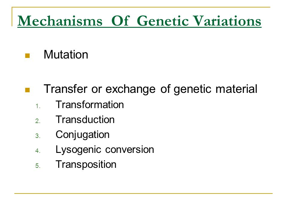 Mechanisms Of Genetic Variations Mutation Transfer or exchange of genetic material 1. Transformation 2. Transduction 3. Conjugation 4. Lysogenic conve