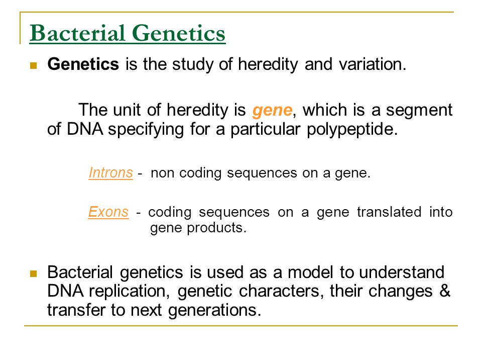 Bacterial Genetics Genetics is the study of heredity and variation. The unit of heredity is gene, which is a segment of DNA specifying for a particula