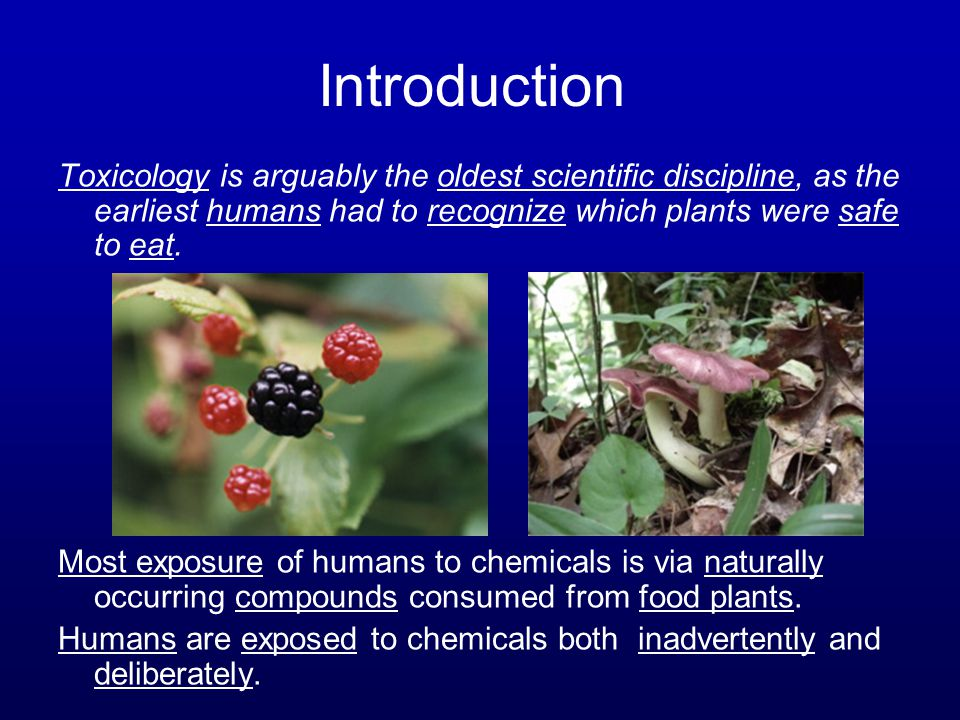 Introduction Toxicology is arguably the oldest scientific discipline, as the earliest humans had to recognize which plants were safe to eat. Most expo