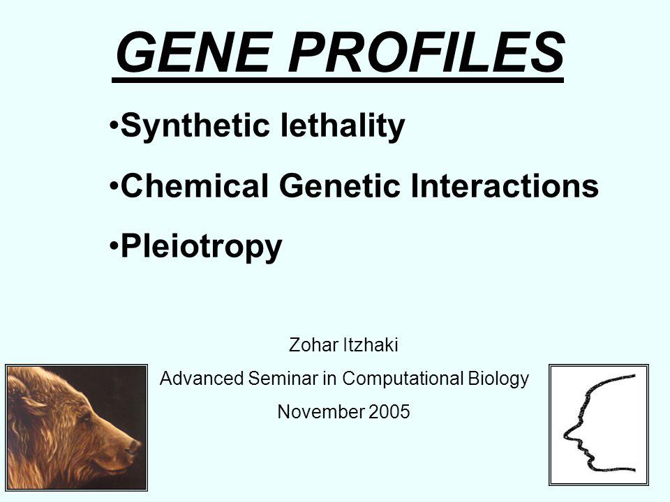 GENE PROFILES Synthetic lethality Chemical Genetic Interactions Pleiotropy Zohar Itzhaki Advanced Seminar in Computational Biology November 2005