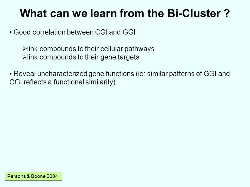 Parsons & Boone 2004 What can we learn from the Bi-Cluster .