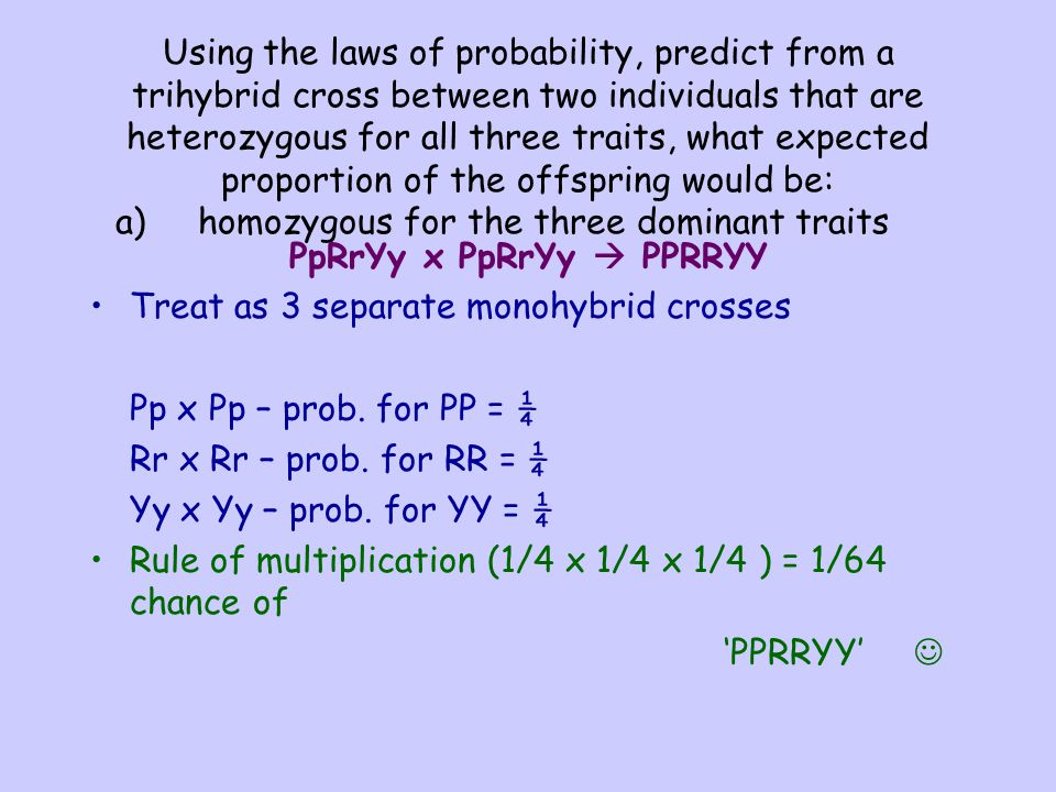 Using the laws of probability, predict from a trihybrid cross between two individuals that are heterozygous for all three traits, what expected propor