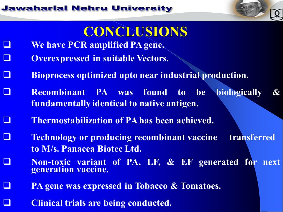 CONCLUSIONS  We have PCR amplified PA gene.  Overexpressed in suitable Vectors.